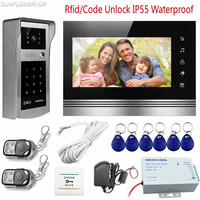 Touch Key Video Intercom Rfid Code Doorphones For Private House Ip55 Waterproof Outdoor Camera With 2pcs