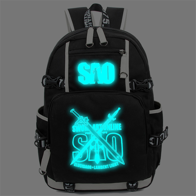 Sword Art Online SAO Luminous Backpack School Travel Bag for Teenagers Mochila Rucksack dropship harajuku anime sword art online sao canvas galaxy luminous printing backpack school bags for teenagers mochila feminina