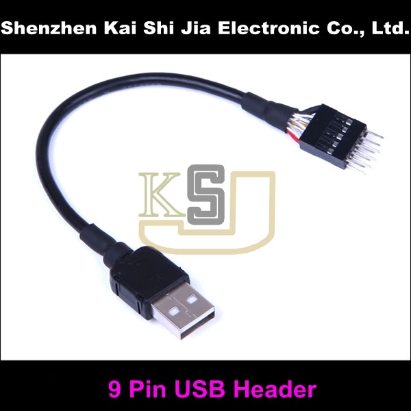 host case mainboard Internal USB 9pin to External A Male data extension cable
