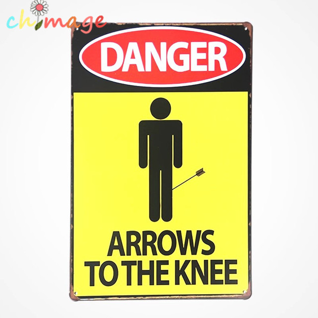 DANGER ARROWS TO THE KNEE Vintage Tin Sign Bar pub home Wall Decor ...