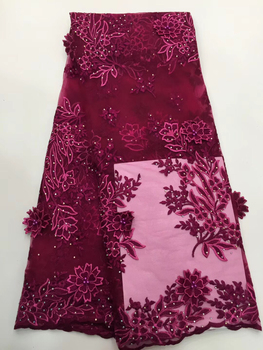 Best Selling African Lace Fabric Nigerian French Fabric 2019 High Quality Beaded French Tulle Lace Fabric with stones  LCD9150A