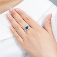 Hutang Genuine London Blue Topaz Ring Solid 925 Sterling Silver Gemstone Fine Jewelry Christmas New Year Gift for 2018