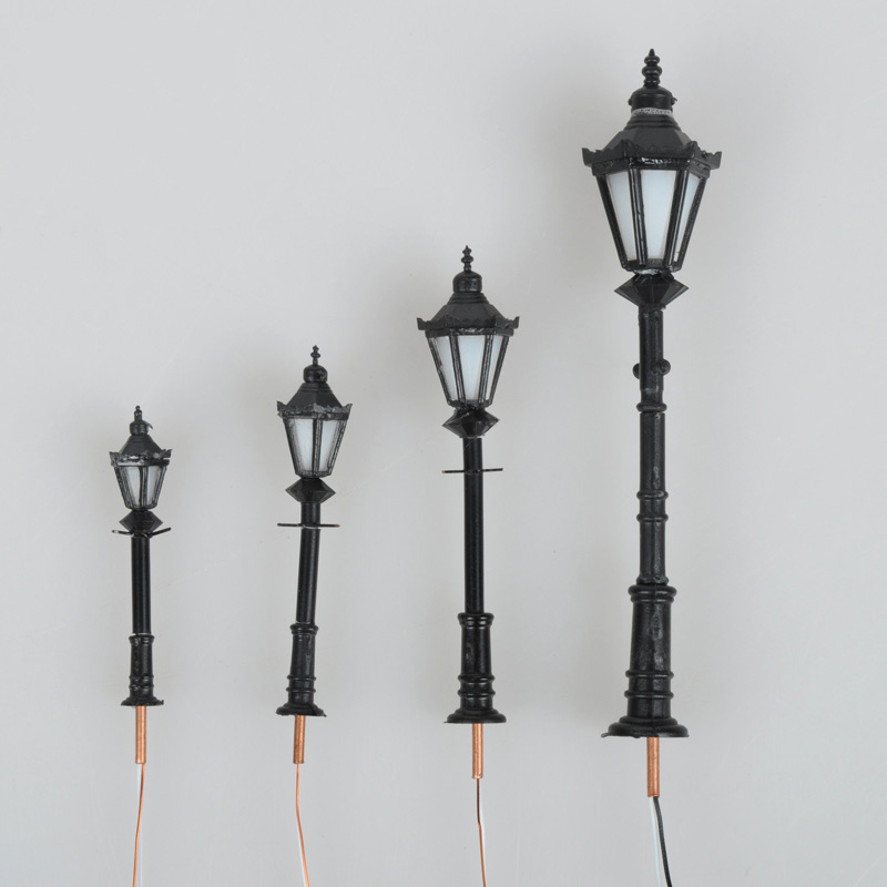 NEW 10pcs Model Light Miniature Model Landscape Layout LED Warm Black Color Model Lamppost For Sale