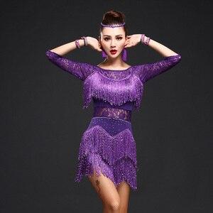 Image 3 - New 2018 Women Competition Dance Clothes Sequins Costume Set Fringe Salsa Dresses Ballroom Dance Ladies Latin Dress
