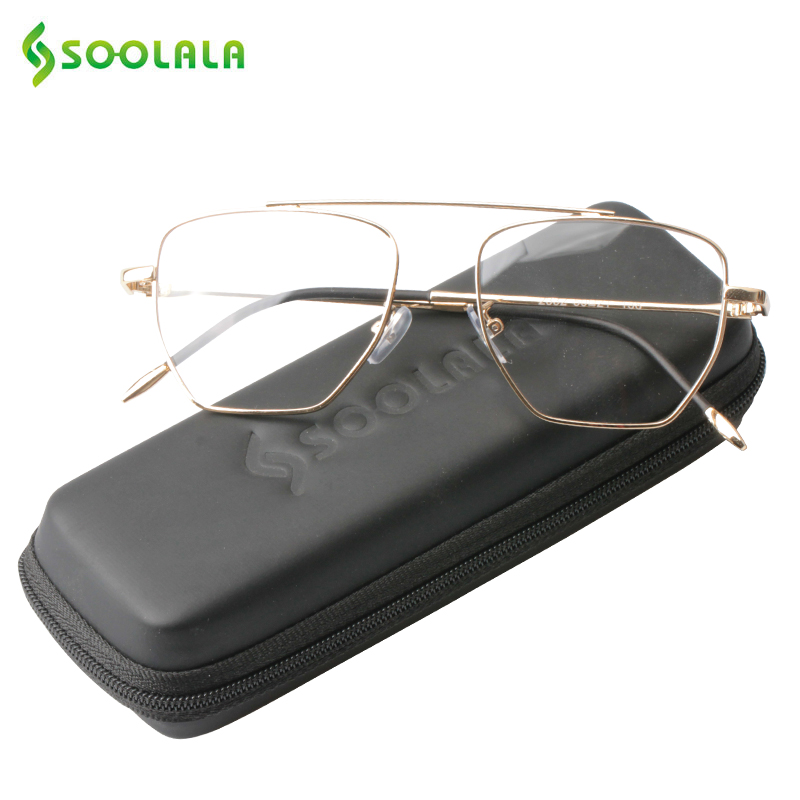 SOOLALA Large Square Frame Reading Glasses Womens Mens Retro Alloy Transparent Clear Lens Magnifier Reading Glass +0.5 to 4.0