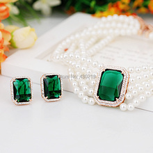 V062669A Crystal Sets Eerrings Necklaces Zinc Alloy 18K rose Gold Plated With Austria crystal Zircon Fashion Jewelry