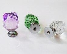 10Pcs Furniture Hardware Luxury K9 Crystal Glass Rose Kitchen Drawer Handle Knobs(Clear,Green,Purple)