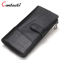 CONTACT S Genuine Leather Men Wallet Long Male Clutch Zipper Design Top Quality Wallets Men Money