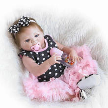 Full Silicone Vinyl Handmade Baby Doll Reborn 23 Inch Lifelike Newborn Babies Girl With Hair Children Birthday Christmas Gift