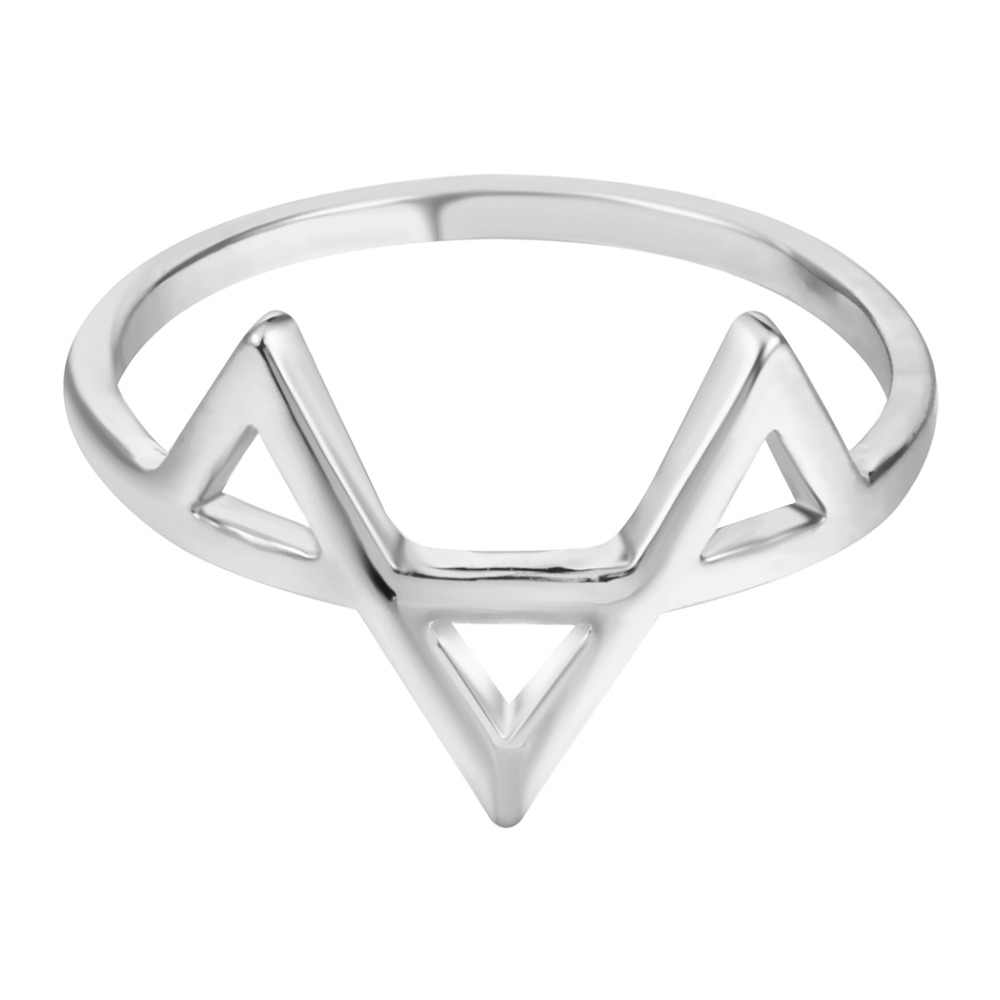 Kinitial Geometric Three Triangle Ring Dainty & Delicate Wave Rings Jewelry Gift for Women and Girls Party Finger Rings