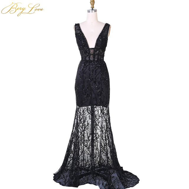 BeryLove Sexy Black Shiny Lace Mermaid Evening Dress 2019 Deep V Neck Backless Sequin Glitter Prom Style Prom Party Gowns Dress