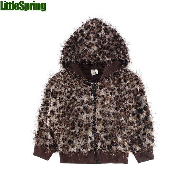 LittleSpring children clothing девушки толстовки и кофты детские зимние куртки девушки капюшоном толстовка