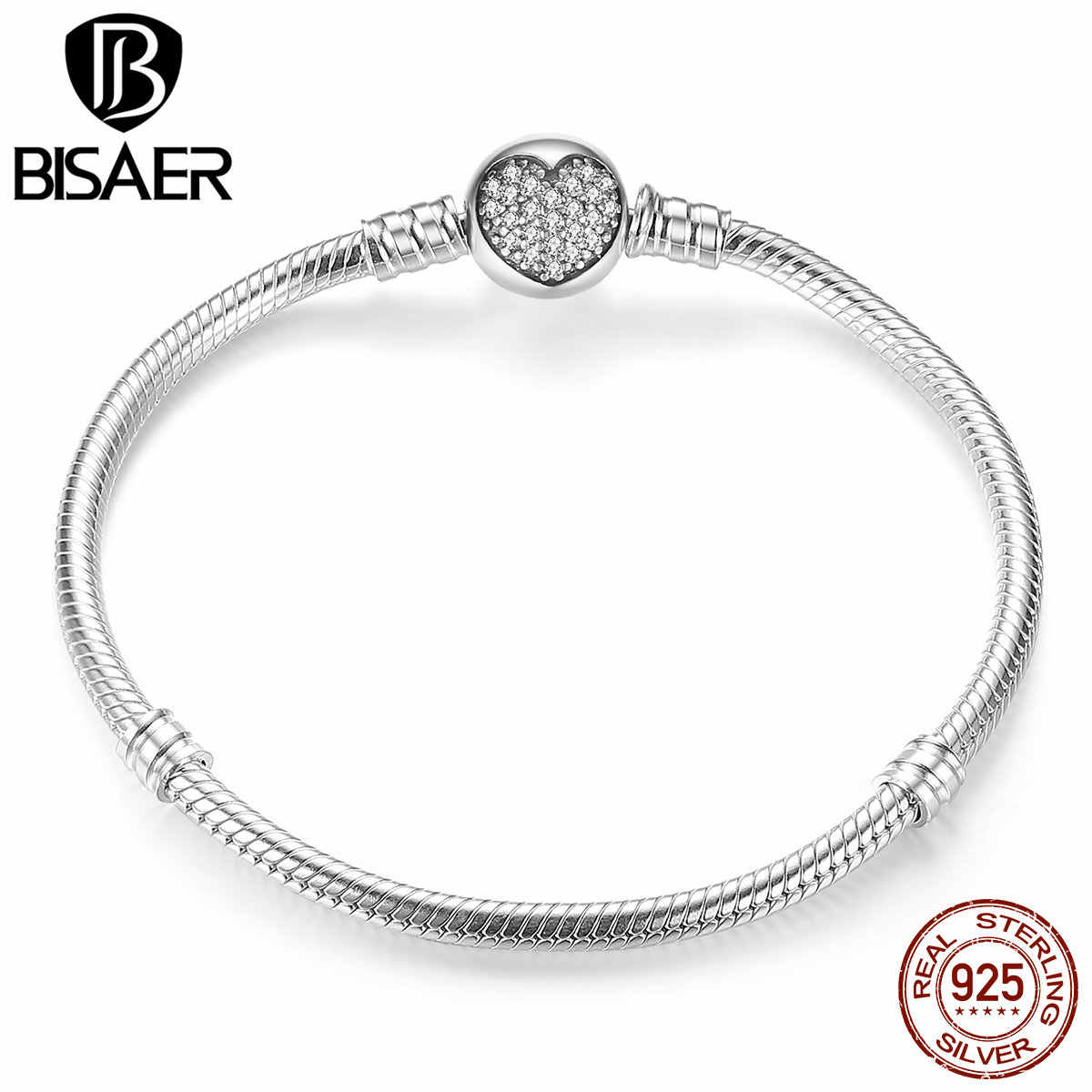 9d17005f9943f Classic Genuine 100% 925 Sterling Silver Simple Snake Chain Bangles &  Bracelets for Women Sterling Silver Jewelry GOS916