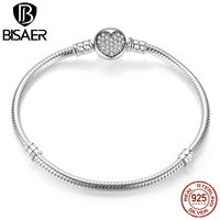 BISAER Genuine 100 925 Sterling Silver Classic Snake Chain Bangle Bracelet For Women Sterling Silver Jewelry