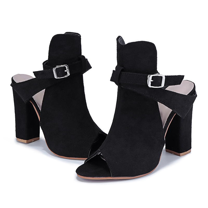 d8cb19f0ce971 US $18.7 36% OFF|NIS Faux Suede Shoes Woman Slingback Buckle Strap Ankle  Boots Women Shoes Peep Toe High Block Heels Autumn Boot Sandalias Botas-in  ...