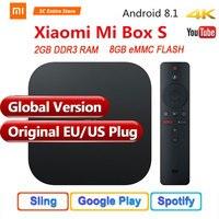 Оригинальный Глобальный Версия Xiaomi mi коробка S 4 Android 8,1 к QuadCore умные телевизоры 2 Гб 8 HD mi 2,4 г 5,8 Wi Fi BT4.2 Mali450 1000Mbp