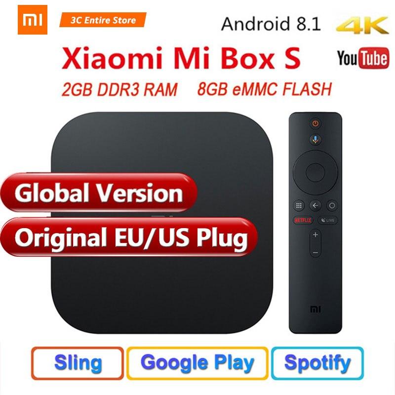 D'origine Mondial Version Xiao mi mi Boîte S 4 Android 8.1 4 K QuadCore Smart TV Box 2 GB 8 GB HD mi 2.4G 5.8G WiFi BT4.2 Mali450 1000Mbp