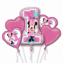 new 5pcs mickey minnie mouse baby shower first birthday 1st foil balloon helium party decor