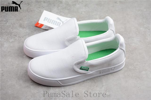 2e938653d18c Original PUMA Smash Vulc Slip on K Men And Women Shoes 367617-02 White  Badminton Shoes Sneakers Size EUR35.5-44