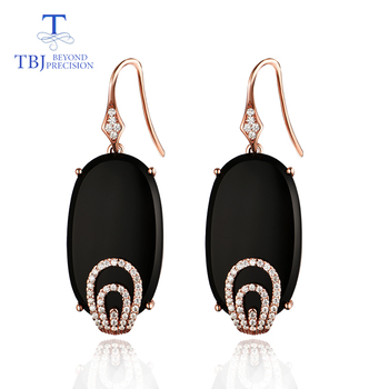 TBJ, vogue hook long earring 26.4ct natural black agate onyx 925 sterling silver rose gold gemstone earring for lady gift