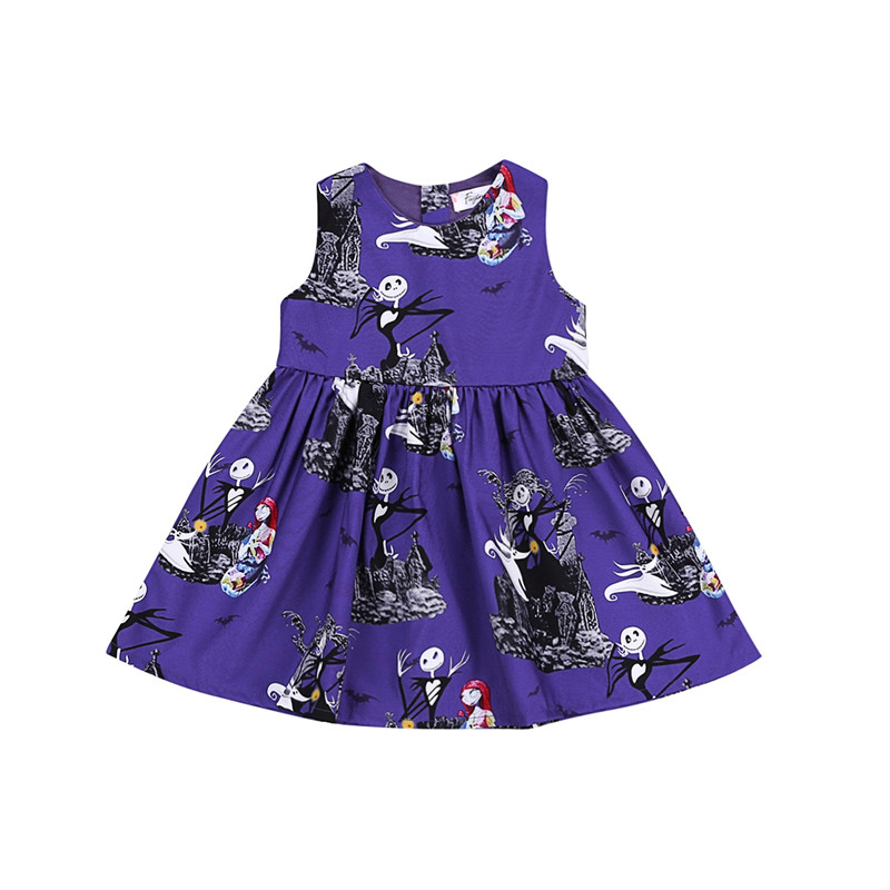 Cute Toddler Kids Baby Girls Dress Summer Purple Halloween Sleeveless Pageant Party