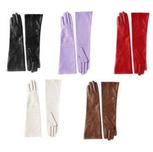 40cm(15.75) long plain stjavascript:void(0);yle fashion real top sheep leather gloves in red brown