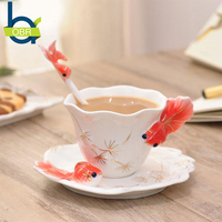 OBR Porcelain Gold Fish Design Coffee Tea Mugs Spoon Saucer Set Cup Ceramic Drinking Accessories for Home Party Best Gifts