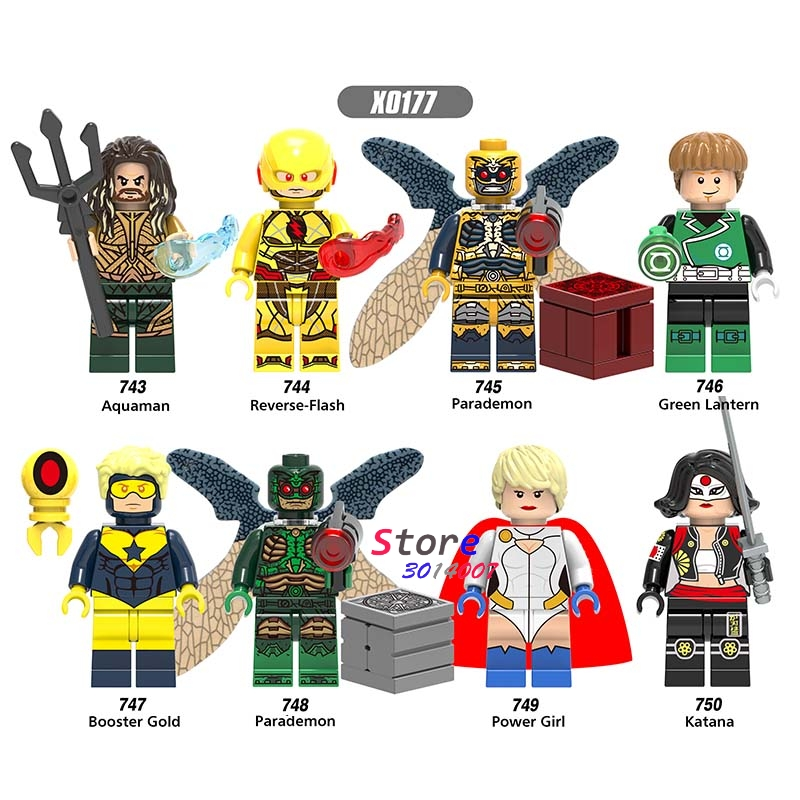 Single Super Hero DC Comics Reverse-Flash Power Girl Parademon Gooster Gold Katana Aquaman Building Blocks Toys For Children