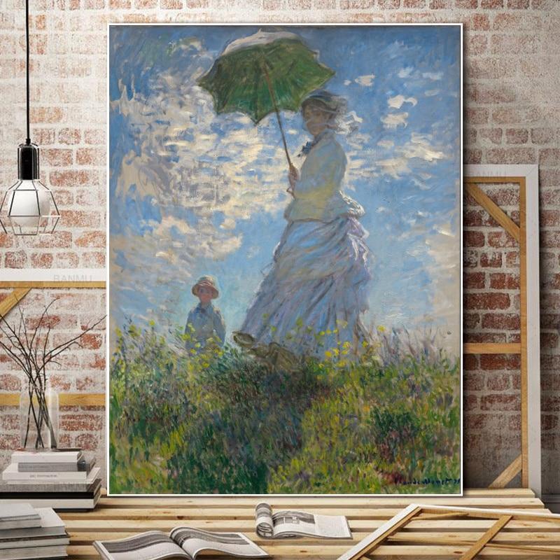 Klasik Posterler ve Baskılar duvar sanatı tuval yağlıboya Kadın Ile Şemsiye Monet tarafından Resim Oturma Odası Ev Dekorasyon için