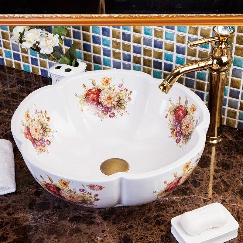 flower europe vintage style art wash basin ceramic counter top wash basin bathroom sinks wash basin bowl porcelain vanity sink