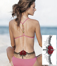 #Y7 Sexy Under Breast Tattoo, Ornamental Style Rose Temporary Metal Tattoo, Sexy Women Tattoo