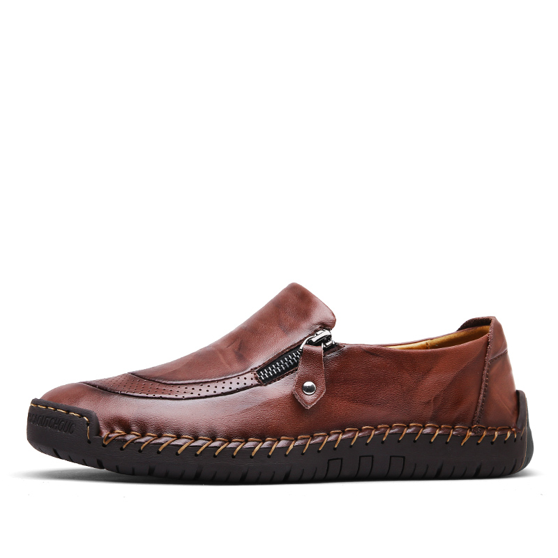Image 2 - Valstone Men's Leather casual Shoes handmade Loafers vintage moccasin slip on Rubber flats Anti skid Zip opening Plus size 38 48-in Men's Casual Shoes from Shoes