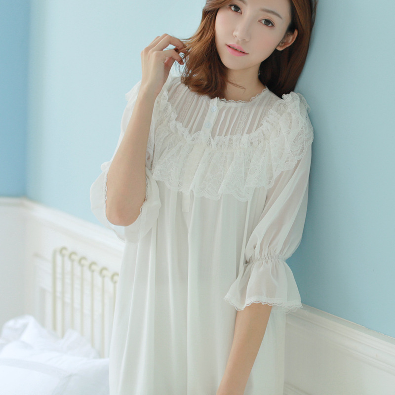 Spring Princess lace Soft modal Gauze lace Ladies Home Sleeping Dress Elegant Vintage Nightgowns Retro Palace