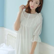 Spring Princess lace Soft modal Gauze lace Ladies Home Sleeping Dress Elegant Vintage Nightgowns Retro Palace Nightdress