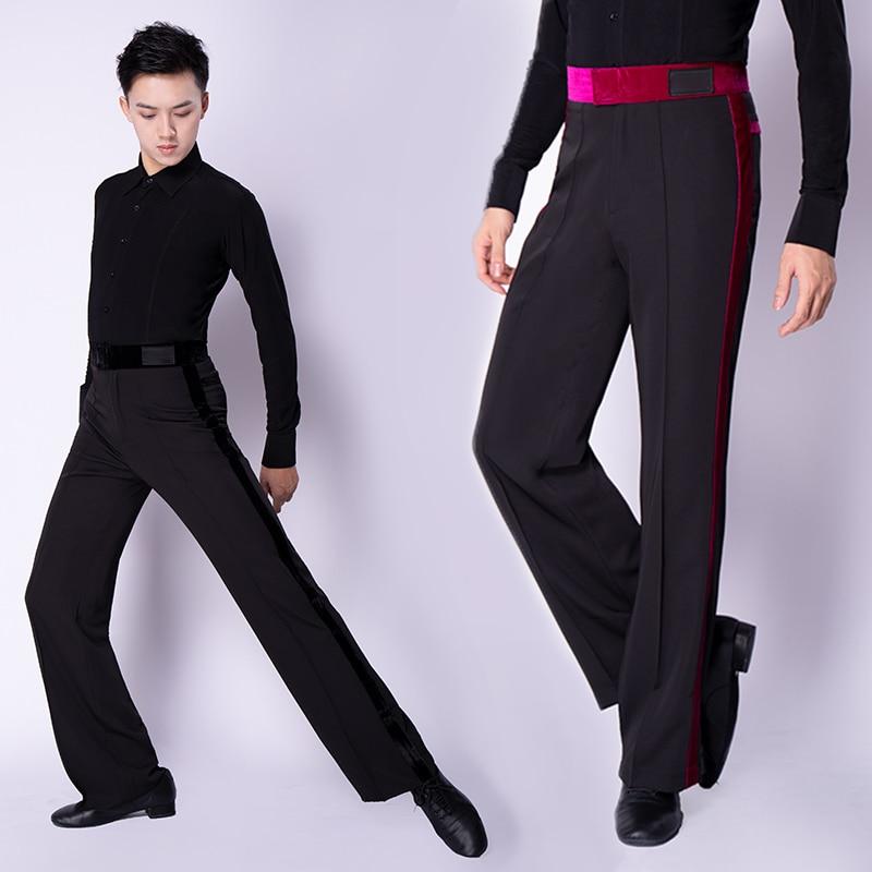 Male Latin Dancing Pants Black For Men Tango Chacha Rumba Professional Men Latin Costumes Ballroom Dancing Trousers BL1315
