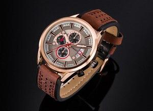 Image 2 - למעלה מותג CURREN גברים ספורט שעונים קוורץ זכר שעון הכרונוגרף אופנה תאריך עור שעוני יד Hodinky Montre Homme