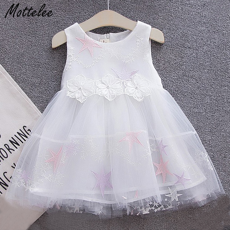 Mottelee Infant Girls Dress Flower Star Formal Baby Dresses Birthday Party Toddler Frocks Pageant Newborn Clothing for Summer