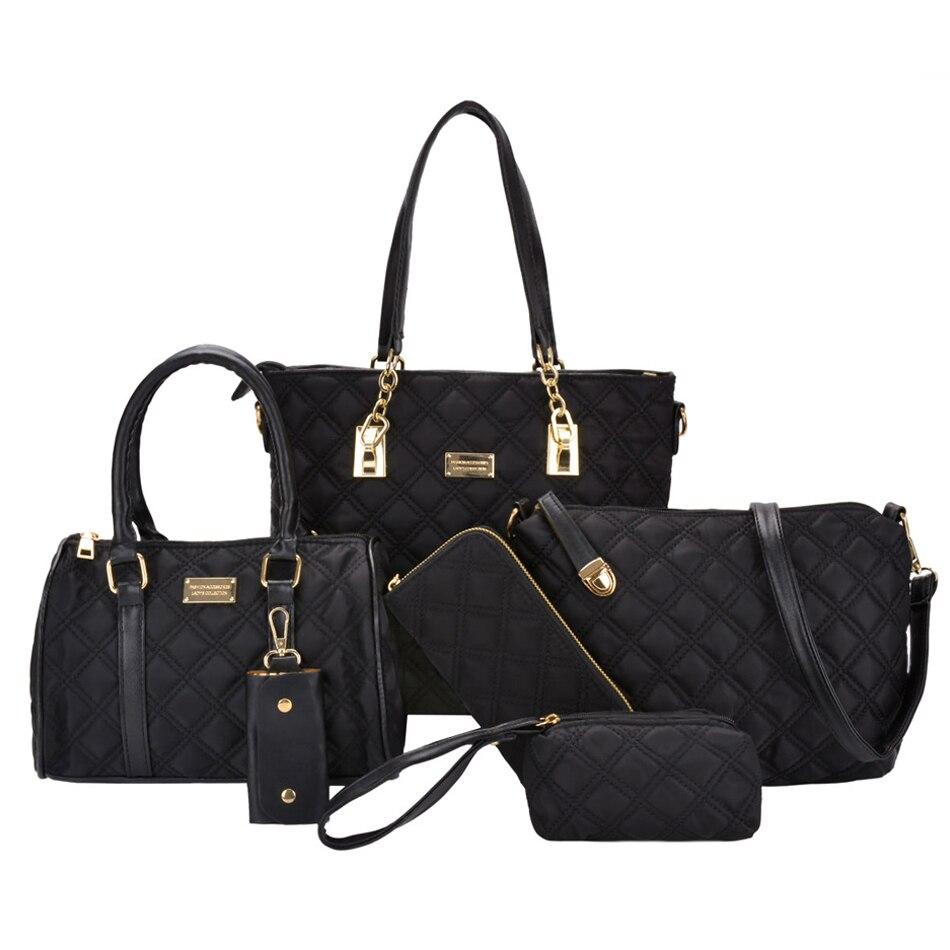 Coofit 6 pièces/ensemble sac à main élégant dame sac à bandoulière en Nylon pour femmes sacs composites ensemble avec filles sac à main pochette