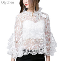 2017 Summer Sexy Women Lace Blouse Two Pieces See Through Flare Sleeve Ladies Shirt Retro Female