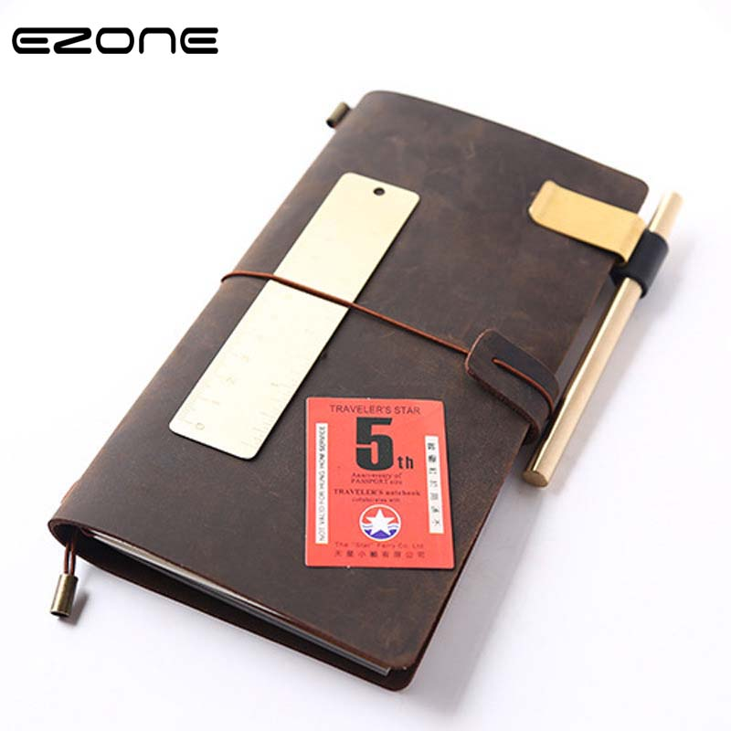 EZONE Genuine Leather Notebook Handmade Travelers Note Book Classic Vintage Style Cowhide Diary Journal Refillalbe Office Supply vintage traveler s notebook cowhide diary handmade journal 100% genuine leather spiral looes leaf diy