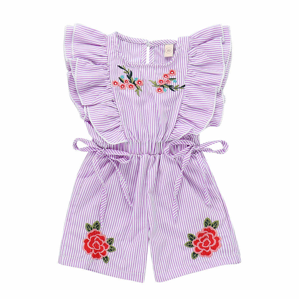 Toddler Girl Romper Embroideried Striped Flower Rose Jumpsuit Clothes  Baby Rompers Summer 2019  Baby Onesies Newborn