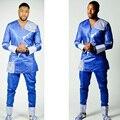 VESTIDOS PARA AS MULHERES africano bazin riche AFRICANO vestidos de homens do projeto do bordado top com calças dois pcs um conjunto sem sapatos