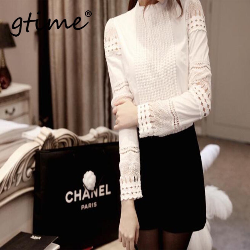 Gtime New Women Blouses Slim Bottoming Long-sleeved White Shirt Lace Hook Flower Hollow Plus Size YJY035