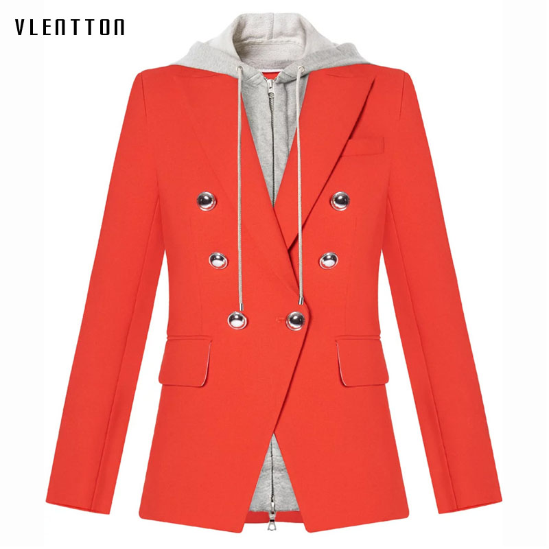 Jacket woman spring autumn 2019 new fashion red blazer Double Breasted pocket Hooded Casual Long Sleeve jacket ladies blazer in Blazers from Women 39 s Clothing
