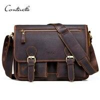CONTACT S Genuine Crazy Horse Cowhide Leather Men Messenger Bag For Laptop Male Vintage Tote Shoulder