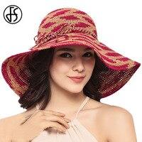 FS Lato 100% Rafia Szydełku Słomkowy Kapelusz Czerwony Składany Duży Bowknot Szerokim Rondem Kobiety Panie Podróży Beach Floppy Sun Visor kapelusze