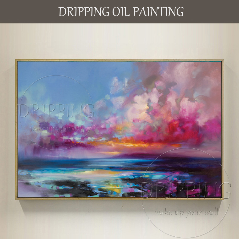Superb Artist Hand-painted Large Canvas Abstract Landscape Sky Oil Painting for Living Room Rich Colors Abstract Oil Painting