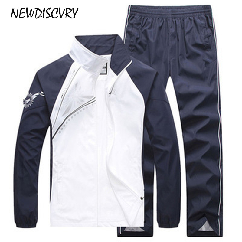 NEWDISCVRY 2 Pieces Mens Tracksuit Set 2018 Spring Autumn Women Long Sleeved Casual Thin Track Suit Man Sportwear Men's Clothing