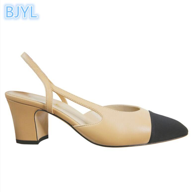BJYL New small fragrance style color square head thick with baotou back high heel sandals femaleBJYL New small fragrance style color square head thick with baotou back high heel sandals female