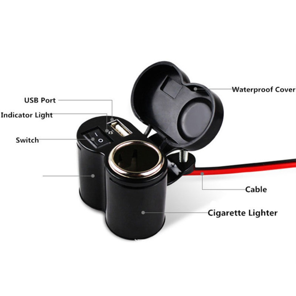 12V Car Motorcycle Bike Waterproof Cigarette Lighter USB Power Charging Socket 1 Pc in Cigarette Lighter from Automobiles Motorcycles